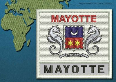This Flag of Mayotte Text with a Colour Coded border design was digitized and embroidered by www.embroidery.design.