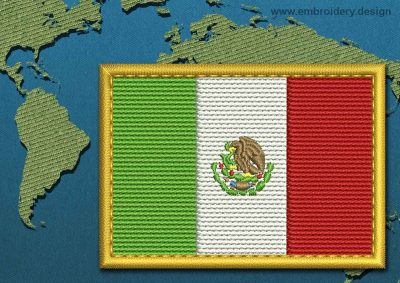 This Flag of Mexico Rectangle with a Gold border design was digitized and embroidered by www.embroidery.design.