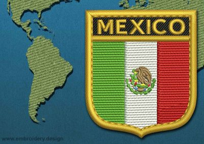 This Flag of Mexico Shield with a Gold border design was digitized and embroidered by www.embroidery.design.