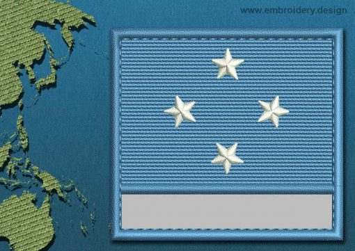This Flag of Micronesia Customizable Text  with a Colour Coded border design was digitized and embroidered by www.embroidery.design.