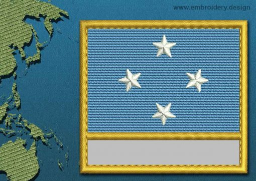 This Flag of Micronesia Customizable Text  with a Gold border design was digitized and embroidered by www.embroidery.design.