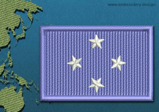 This Flag of Micronesia Mini with a Colour Coded border design was digitized and embroidered by www.embroidery.design.