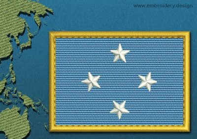 This Flag of Micronesia Rectangle with a Gold border design was digitized and embroidered by www.embroidery.design.