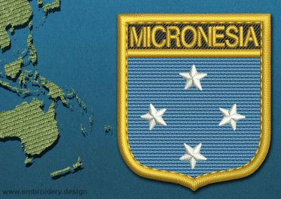 This Flag of Micronesia Shield with a Gold border design was digitized and embroidered by www.embroidery.design.