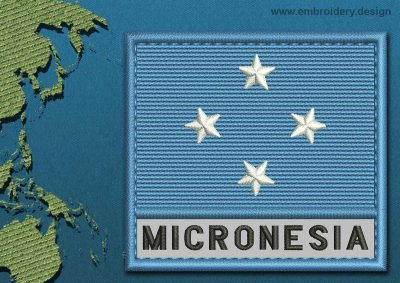 This Flag of Micronesia Text with a Colour Coded border design was digitized and embroidered by www.embroidery.design.
