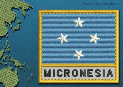 This Flag of Micronesia Text with a Gold border design was digitized and embroidered by www.embroidery.design.