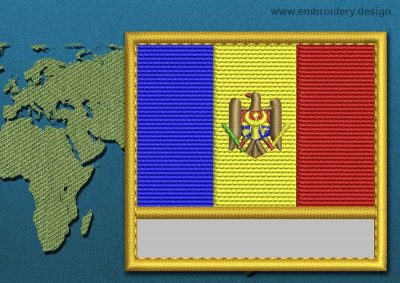 This Flag of Moldova Customizable Text  with a Gold border design was digitized and embroidered by www.embroidery.design.