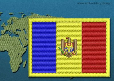 This Flag of Moldova Rectangle with a Colour Coded border design was digitized and embroidered by www.embroidery.design.