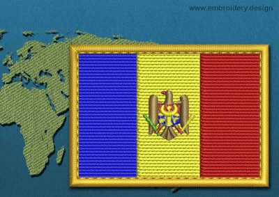 This Flag of Moldova Rectangle with a Gold border design was digitized and embroidered by www.embroidery.design.