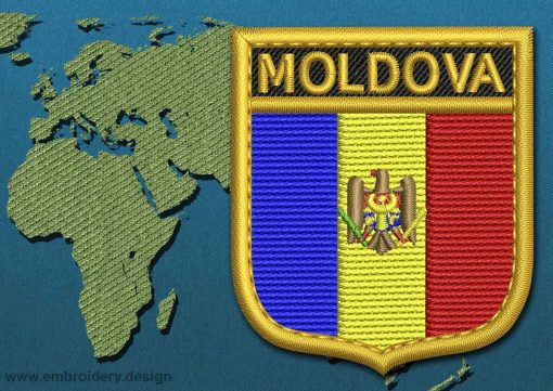 This Flag of Moldova Shield with a Gold border design was digitized and embroidered by www.embroidery.design.