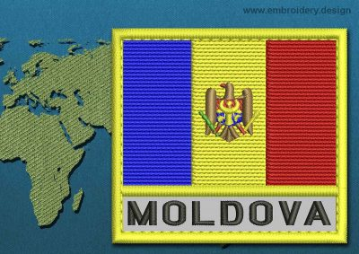 This Flag of Moldova Text with a Colour Coded border design was digitized and embroidered by www.embroidery.design.