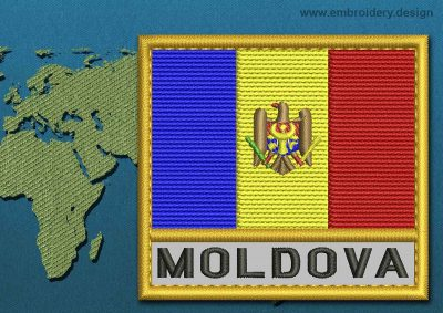 This Flag of Moldova Text with a Gold border design was digitized and embroidered by www.embroidery.design.