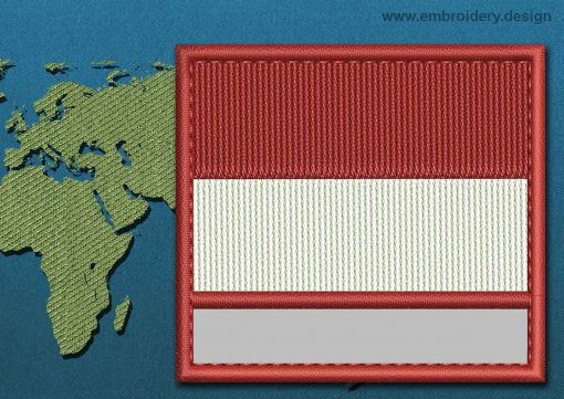 This Flag of Monaco Customizable Text  with a Colour Coded border design was digitized and embroidered by www.embroidery.design.