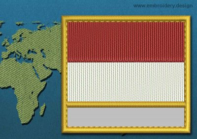 This Flag of Monaco Customizable Text  with a Gold border design was digitized and embroidered by www.embroidery.design.
