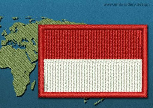 This Flag of Monaco Mini with a Colour Coded border design was digitized and embroidered by www.embroidery.design.