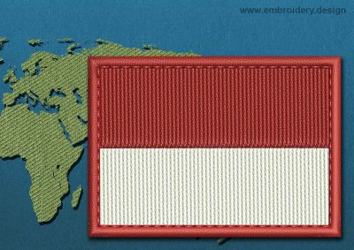 This Flag of Monaco Rectangle with a Colour Coded border design was digitized and embroidered by www.embroidery.design.