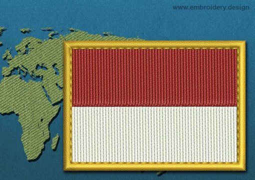 This Flag of Monaco Rectangle with a Gold border design was digitized and embroidered by www.embroidery.design.