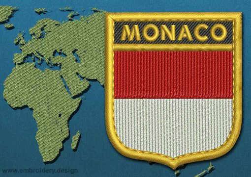 This Flag of Monaco Shield with a Gold border design was digitized and embroidered by www.embroidery.design.