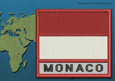 This Flag of Monaco Text with a Colour Coded border design was digitized and embroidered by www.embroidery.design.