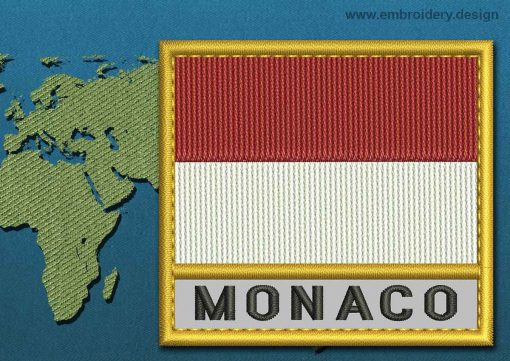 This Flag of Monaco Text with a Gold border design was digitized and embroidered by www.embroidery.design.