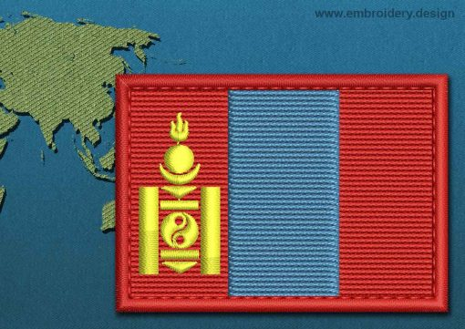 This Flag of Mongolia Rectangle with a Colour Coded border design was digitized and embroidered by www.embroidery.design.