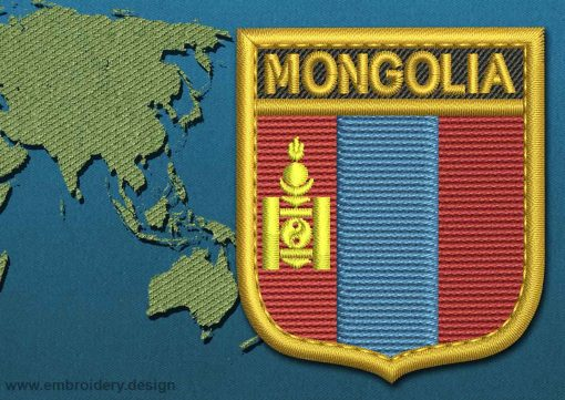 This Flag of Mongolia Shield with a Gold border design was digitized and embroidered by www.embroidery.design.