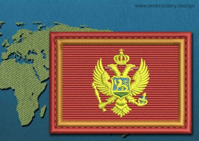 This Flag of Montenegro Rectangle with a Colour Coded border design was digitized and embroidered by www.embroidery.design.