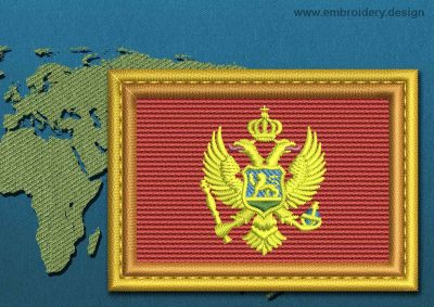 This Flag of Montenegro Rectangle with a Gold border design was digitized and embroidered by www.embroidery.design.