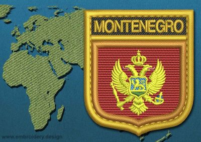 This Flag of Montenegro Shield with a Gold border design was digitized and embroidered by www.embroidery.design.