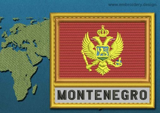 This Flag of Montenegro Text with a Gold border design was digitized and embroidered by www.embroidery.design.