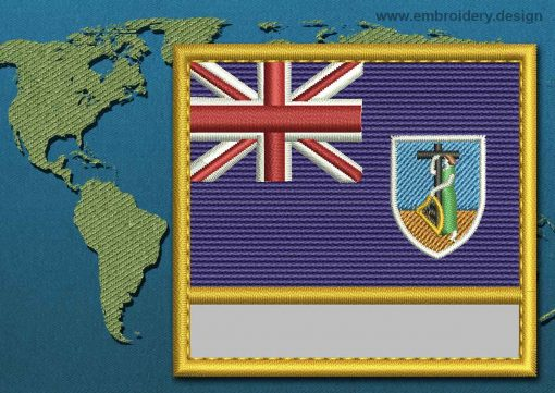 This Flag of Montserrat Customizable Text  with a Gold border design was digitized and embroidered by www.embroidery.design.