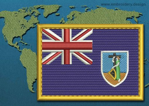 This Flag of Montserrat Rectangle with a Gold border design was digitized and embroidered by www.embroidery.design.