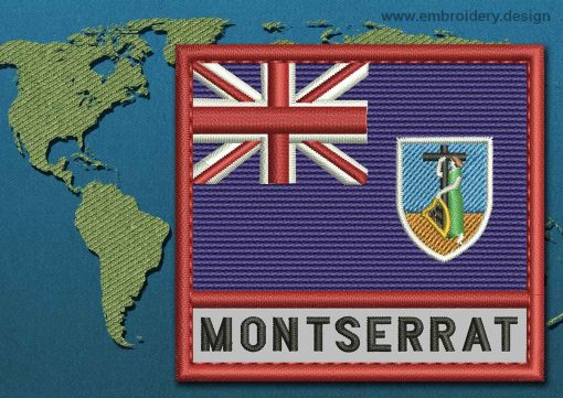 This Flag of Montserrat Text with a Colour Coded border design was digitized and embroidered by www.embroidery.design.