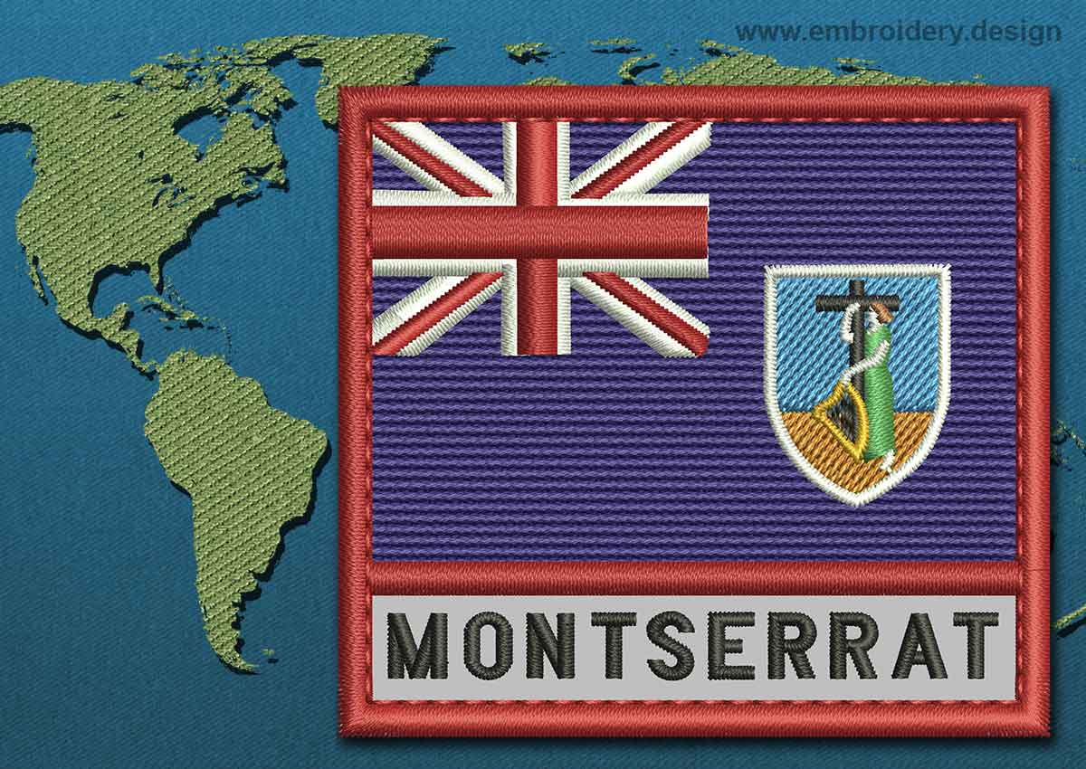 Download Montserrat Text Flag Embroidery design with a Colour Coded ...