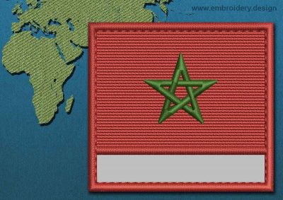 This Flag of Morocco Customizable Text  with a Colour Coded border design was digitized and embroidered by www.embroidery.design.
