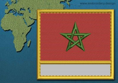 This Flag of Morocco Customizable Text  with a Gold border design was digitized and embroidered by www.embroidery.design.