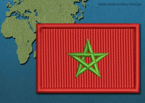 This Flag of Morocco Mini with a Colour Coded border design was digitized and embroidered by www.embroidery.design.