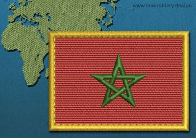 This Flag of Morocco Rectangle with a Gold border design was digitized and embroidered by www.embroidery.design.