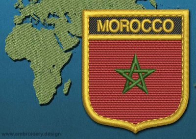 This Flag of Morocco Shield with a Gold border design was digitized and embroidered by www.embroidery.design.