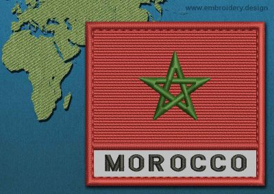 This Flag of Morocco Text with a Colour Coded border design was digitized and embroidered by www.embroidery.design.