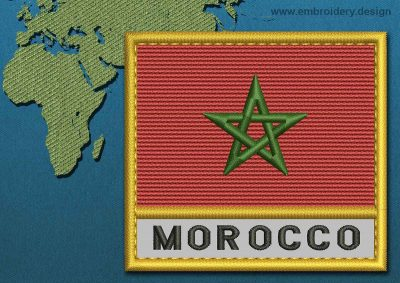 This Flag of Morocco Text with a Gold border design was digitized and embroidered by www.embroidery.design.