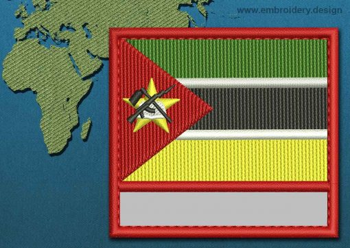This Flag of Mozambique Customizable Text  with a Colour Coded border design was digitized and embroidered by www.embroidery.design.