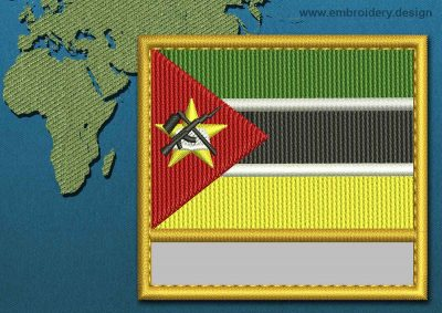 This Flag of Mozambique Customizable Text  with a Gold border design was digitized and embroidered by www.embroidery.design.