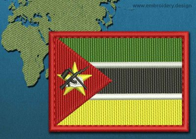 This Flag of Mozambique Rectangle with a Colour Coded border design was digitized and embroidered by www.embroidery.design.