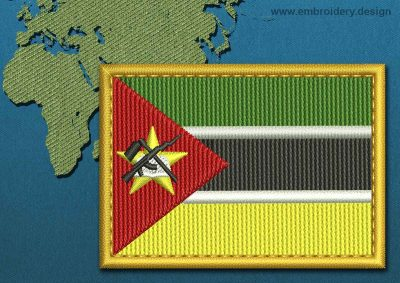 This Flag of Mozambique Rectangle with a Gold border design was digitized and embroidered by www.embroidery.design.
