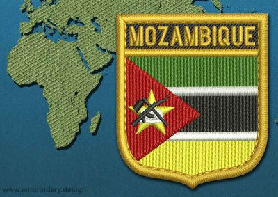 This Flag of Mozambique Shield with a Gold border design was digitized and embroidered by www.embroidery.design.