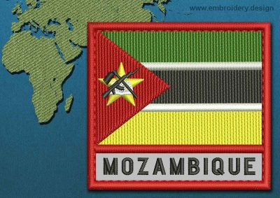 This Flag of Mozambique Text with a Colour Coded border design was digitized and embroidered by www.embroidery.design.