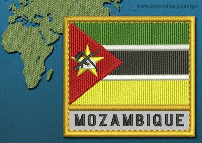 This Flag of Mozambique Text with a Gold border design was digitized and embroidered by www.embroidery.design.