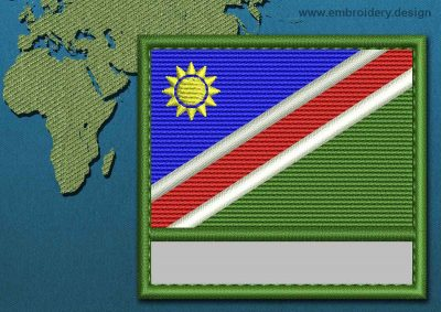 This Flag of Namibia Customizable Text  with a Colour Coded border design was digitized and embroidered by www.embroidery.design.