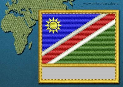 This Flag of Namibia Customizable Text  with a Gold border design was digitized and embroidered by www.embroidery.design.